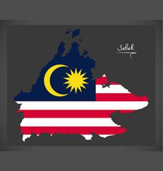 sabah malaysia map with malaysian national flag vector image