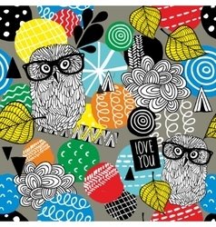 Seamless pattern with cute doodle owls and design vector