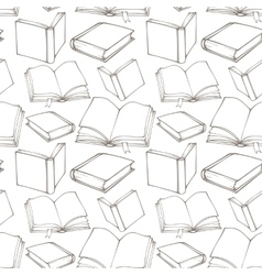 Seamless pattern with outline decorative books vector image