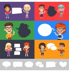 Set of a Speaking Casually Dressed Characters vector image