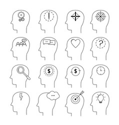 set of brain activity icons thin line style flat vector image
