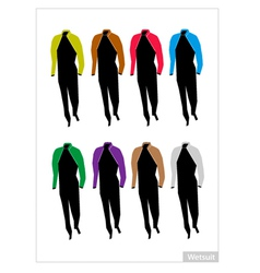 Set of Wetsuit or Diving Suit on White Background vector