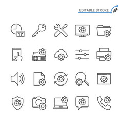 setting line icons editable stroke vector image
