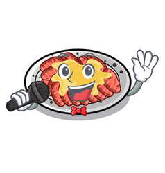 Singing carpaccio isolated with in mascot vector