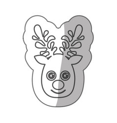 Sticker silhouette cute face reindeer animal vector