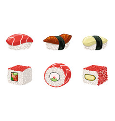 Sushi set traditional japanese delicious seafood vector