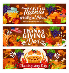 thanksgiving day banner for autumn harvest holiday vector image