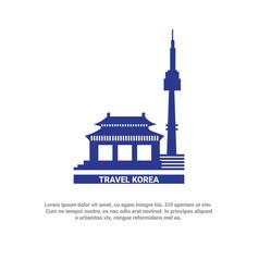 Travel to korea poster seoul landmarks silhouette vector