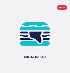 two color cheese burger icon from hotel and vector image