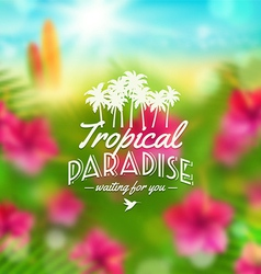 Type design with tropical nature vector image
