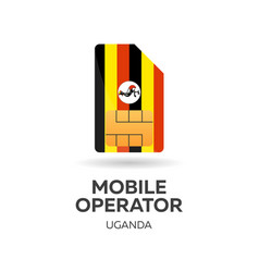 Uganda mobile operator sim card with flag vector