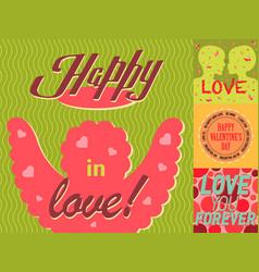 valentine day cards design template vintage vector image