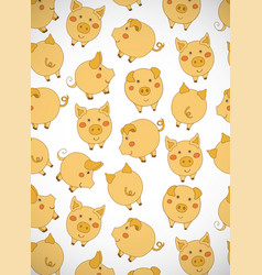 Vertical greeting card with cute cartoon yellow vector