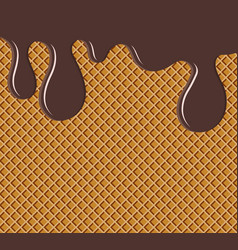 waffle flowing chocolate or soft glaze texture vector image