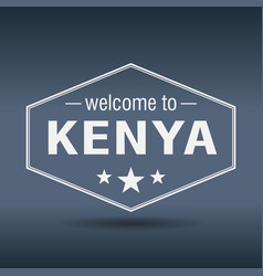 Welcome to kenya hexagonal white vintage label vector