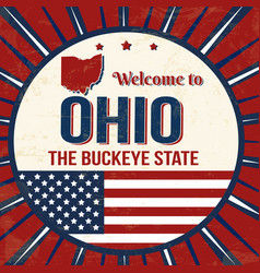 Welcome to ohio vintage grunge poster vector