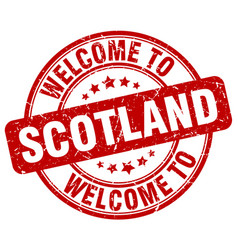 Welcome to scotland red round vintage stamp vector