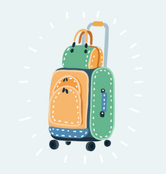 wheeled suitcase and a shoulder bag vector image