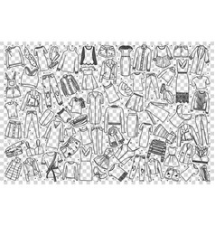 womens clothing doodle set vector image
