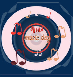 World music day disc sounds planet global vector