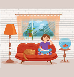 Young woman reading book sitting on the sofa vector