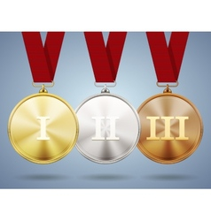 Gold silver and bronze medals on ribbons vector image vector image