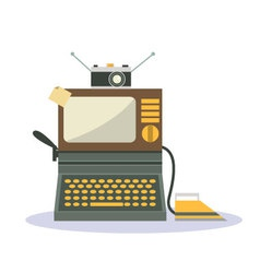 Isolated cartoon vintage television camera iron an vector