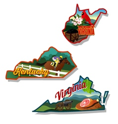 Kentucky Virginia West Virginia retro vector image