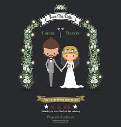 Rustic hipster romantic cartoon couple wedding vector image vector image