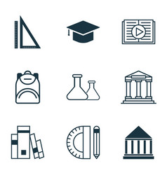 set of 9 school icons includes education tools vector image