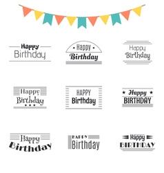Set of Happy Birthday greeting cards Birthday vector image