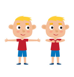 blonde boy in exercise pose vector image vector image