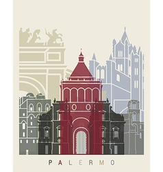 Palermo skyline poster vector image