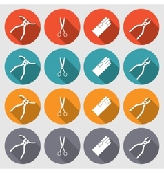 Tool icons set Pliers gloves tongs scissors vector image