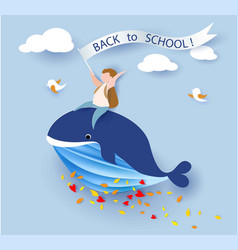 card with boy sitting on whale flying on blue sky vector image vector image