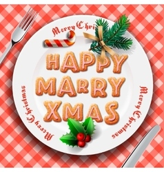Gingerbread cookie on the plate Christmas dinner vector image