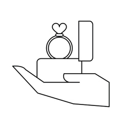 Hand hold engagement box with ring heart outline vector