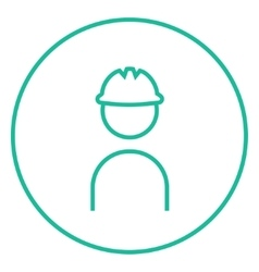 Worker wearing hard hat line icon vector image