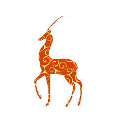 antelope mammal color silhouette animal vector image vector image