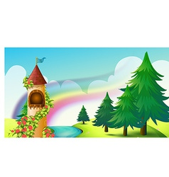 Castle and rainbow vector image vector image