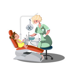 child girl in the dentist s chair with a toothache vector image