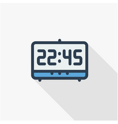 digital clock time watch thin line flat color vector image vector image