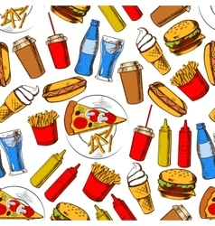 Fast food dinner with drinks seamless pattern vector image vector image