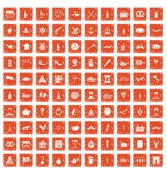 100 alcohol icons set grunge orange vector