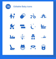 16 baby icons vector