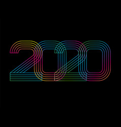 2020 happy new year numbers minimalist style vector image
