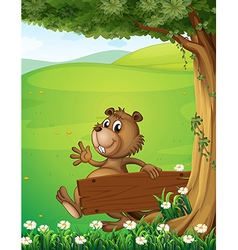 A beaver escaping with an empty wooden signage vector