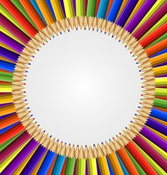 Abstract frame of colored pencils background vector image