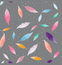 abstract seamless pattern with colorful feathers vector image