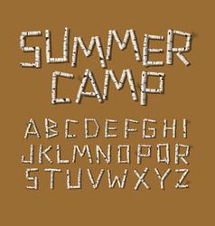 alphabet made birch tree logs vector image